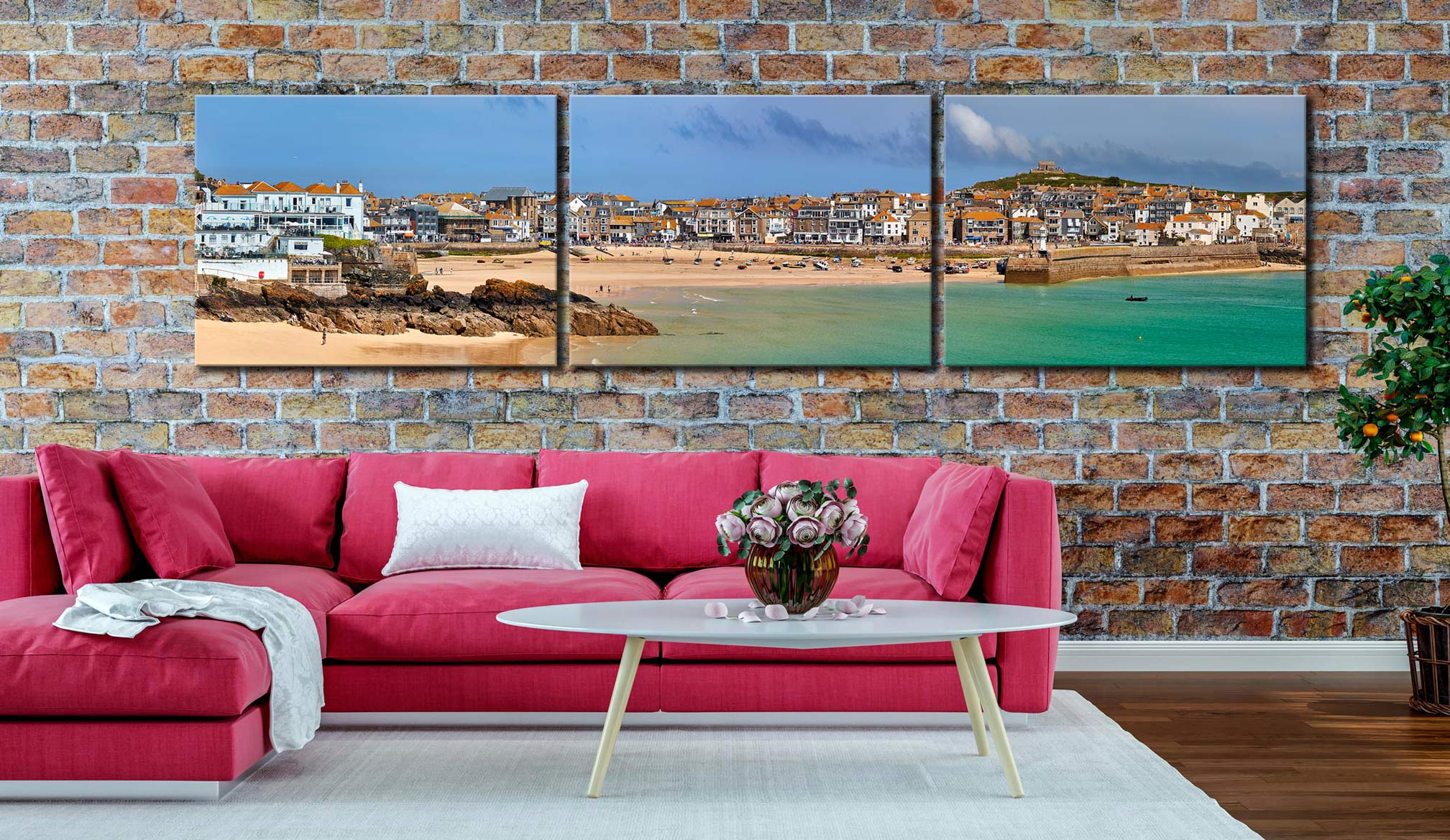 St Ives Seafront - 3 Panel Canvas on Wall
