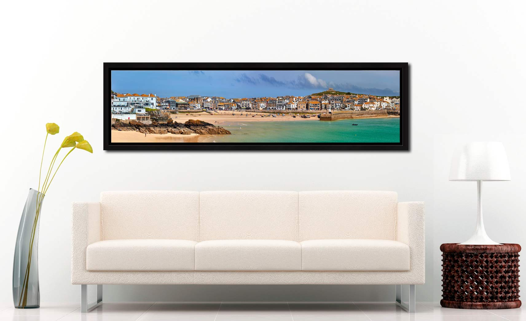 St Ives Seafront - Black oak floater frame with acrylic glazing on Wall