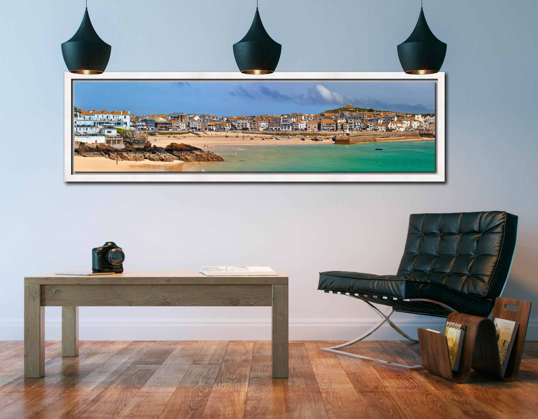 St Ives Seafront - White Maple floater frame with acrylic glazing on Wall