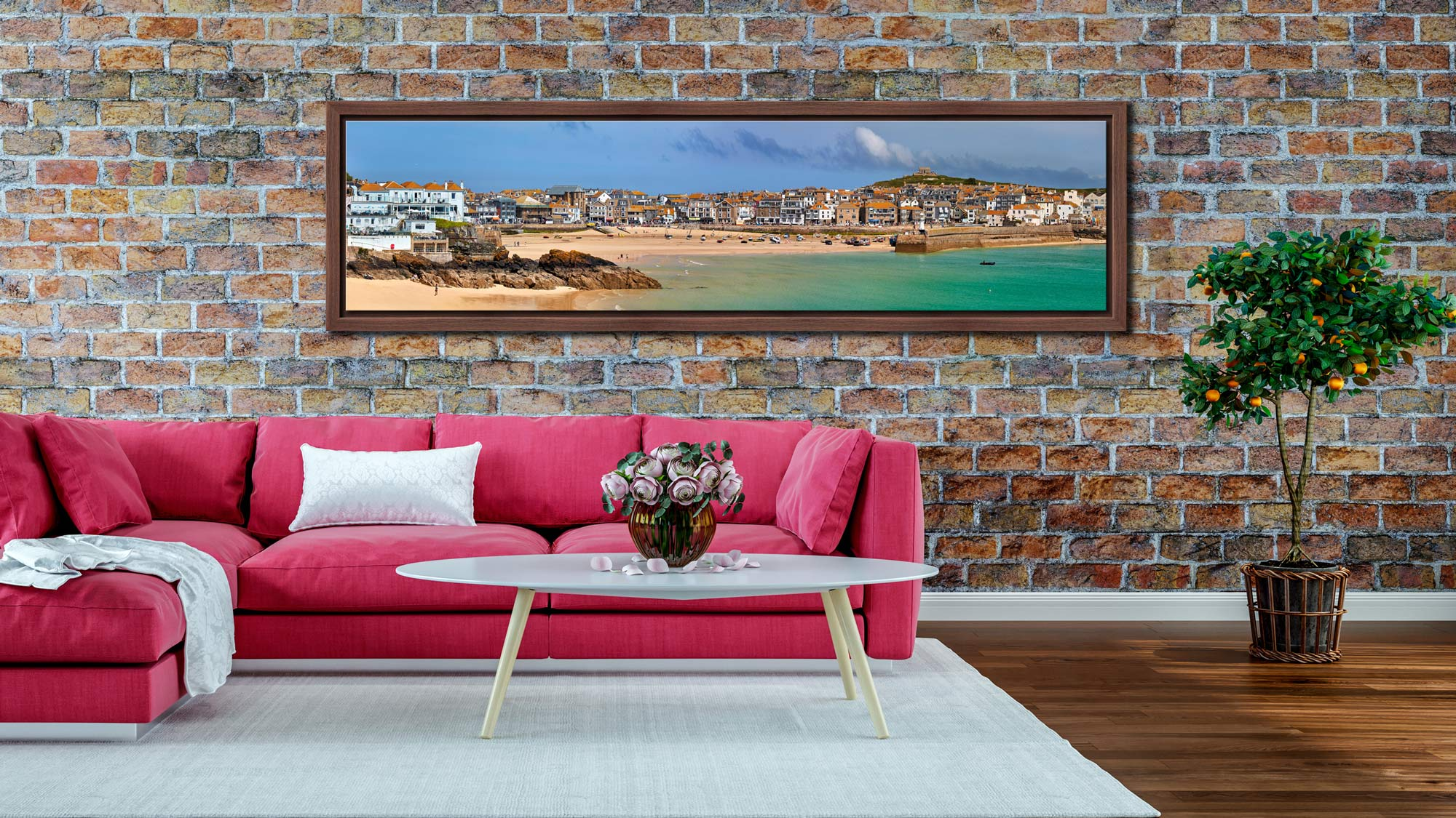 St Ives Seafront - Walnut floater frame with acrylic glazing on Wall