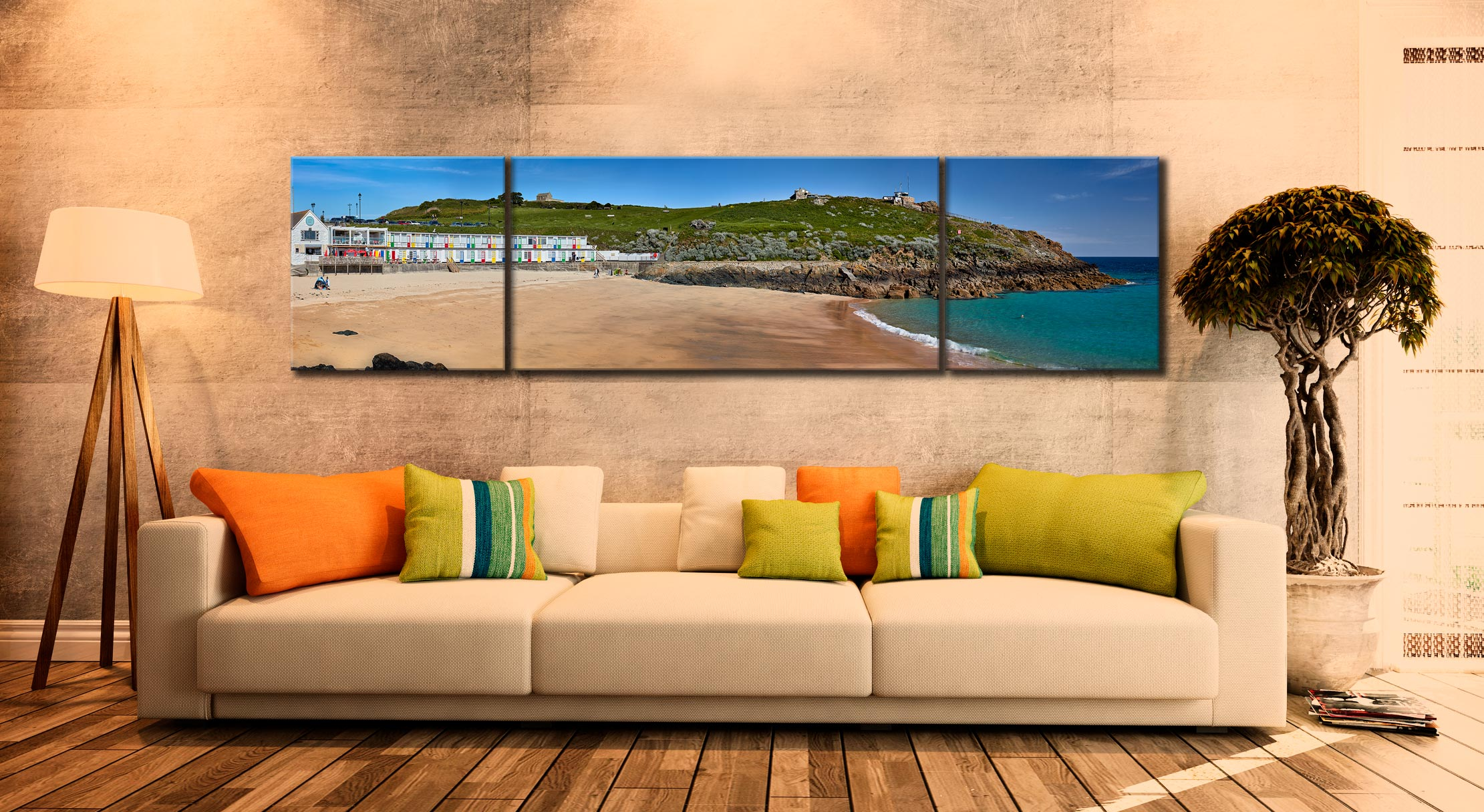 Porthgwidden Beach The Island - 3 Panel Wide Centre Canvas on Wall