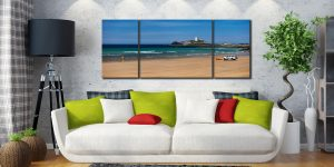 Godrevy Beach and Lighthouse - 3 Panel Wide Mid Canvas on Wall