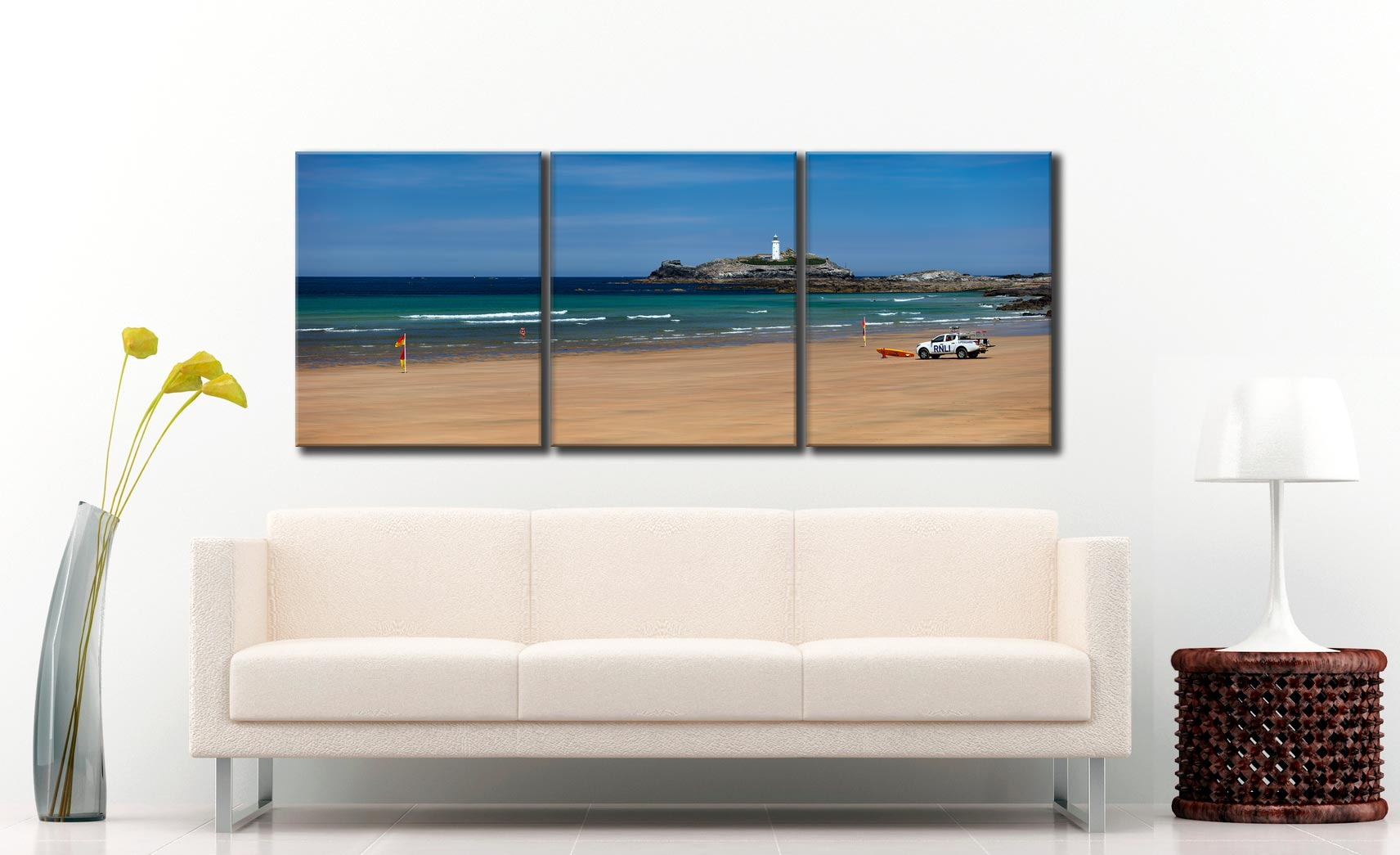 Godrevy Beach and Lighthouse - 3 Panel Canvas on Wall