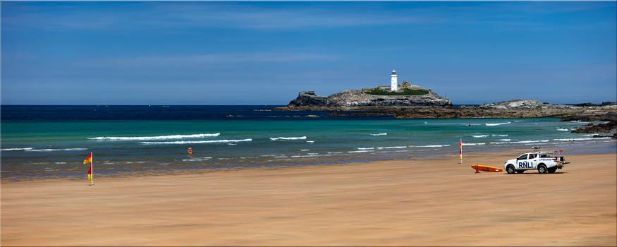 Godrevy Beach and Lighthouse - Canvas Print