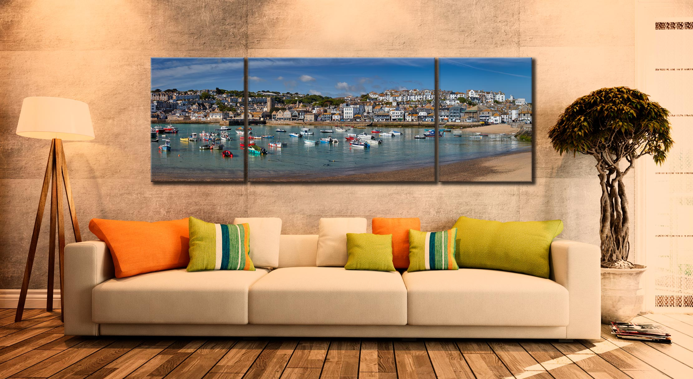 St Ives Harbour Morning - 3 Panel Wide Mid Canvas on Wall
