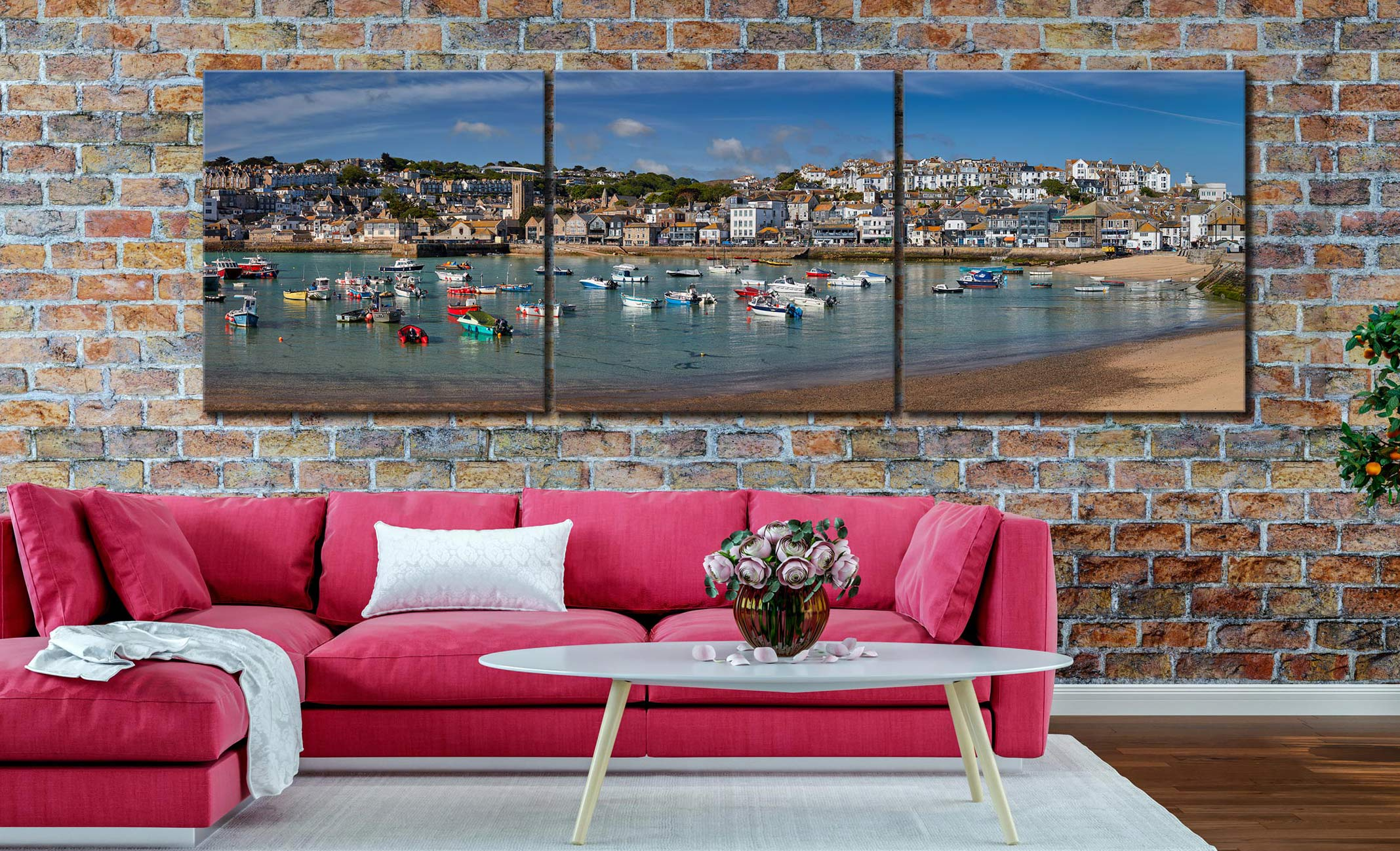 St Ives Harbour Morning - 3 Panel Canvas on Wall