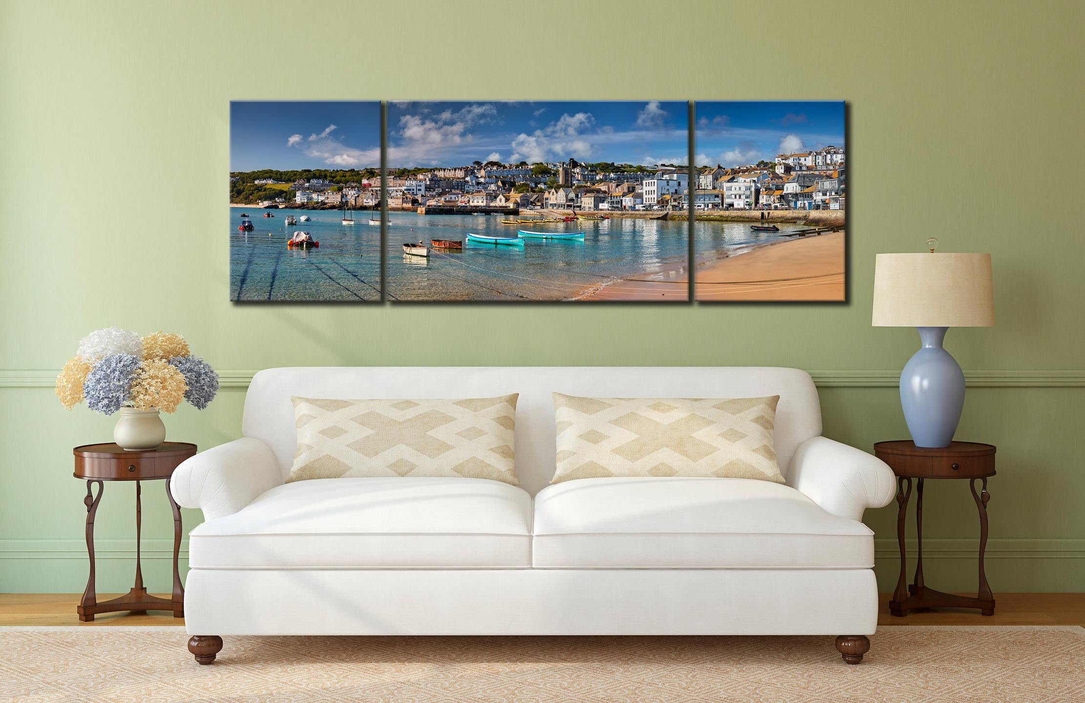 St Ives Harbour Silver Water - 3 Panel Wide Mid Canvas on Wall