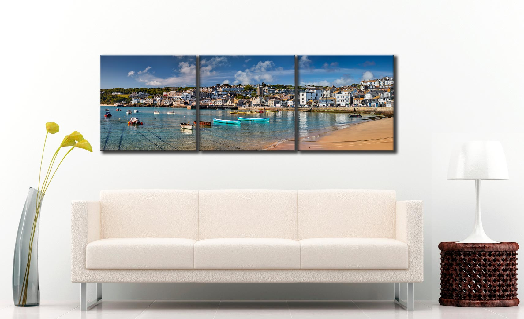 St Ives Harbour Silver Water - 3 Panel Canvas on Wall