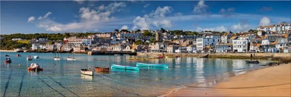 St Ives Harbour Silver Water - Canvas Print