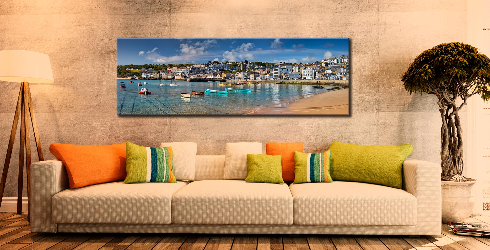 St Ives Harbour Silver Water Canvas on Wall
