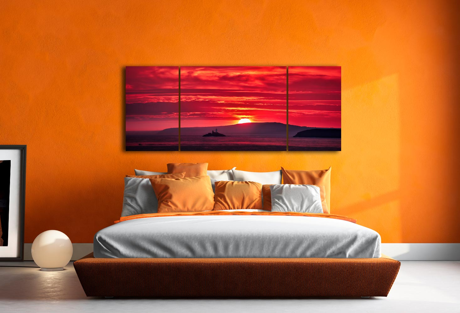 Red Sky in Morning - 3 Panel Wide Mid Canvas on Wall