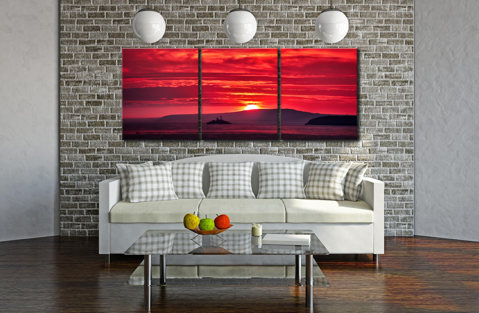 Red Sky in Morning - 3 Panel Canvas on Wall