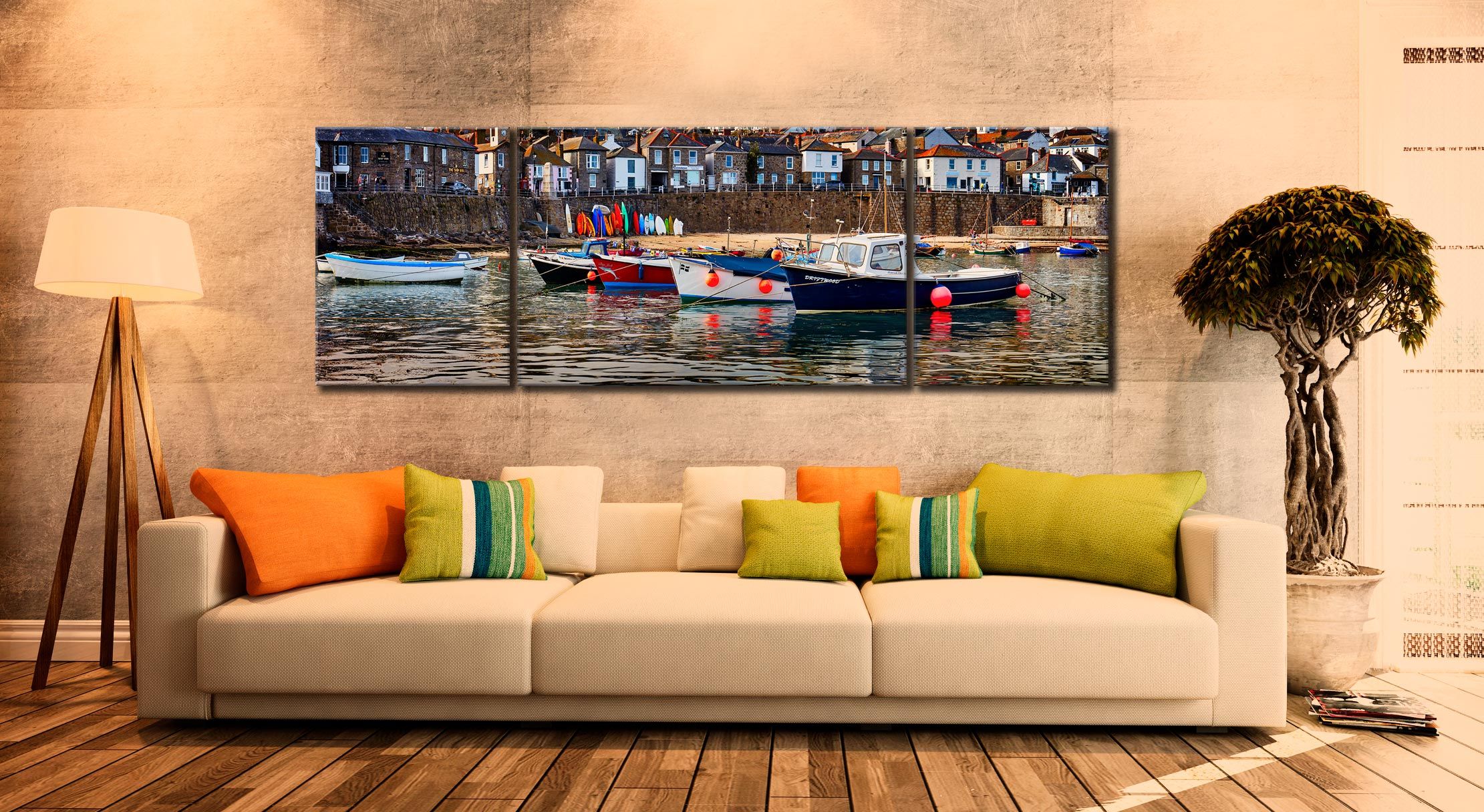 Mousehole Harbour Boats - 3 Panel Wide Mid Canvas on Wall