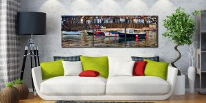 Mousehole Harbour Boats - 3 Panel Canvas on Wall