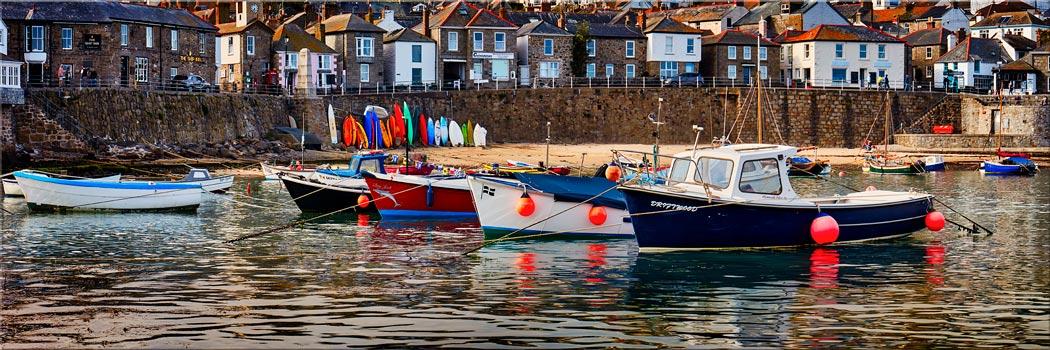 Mousehole Harbour Boats - Canvas Print