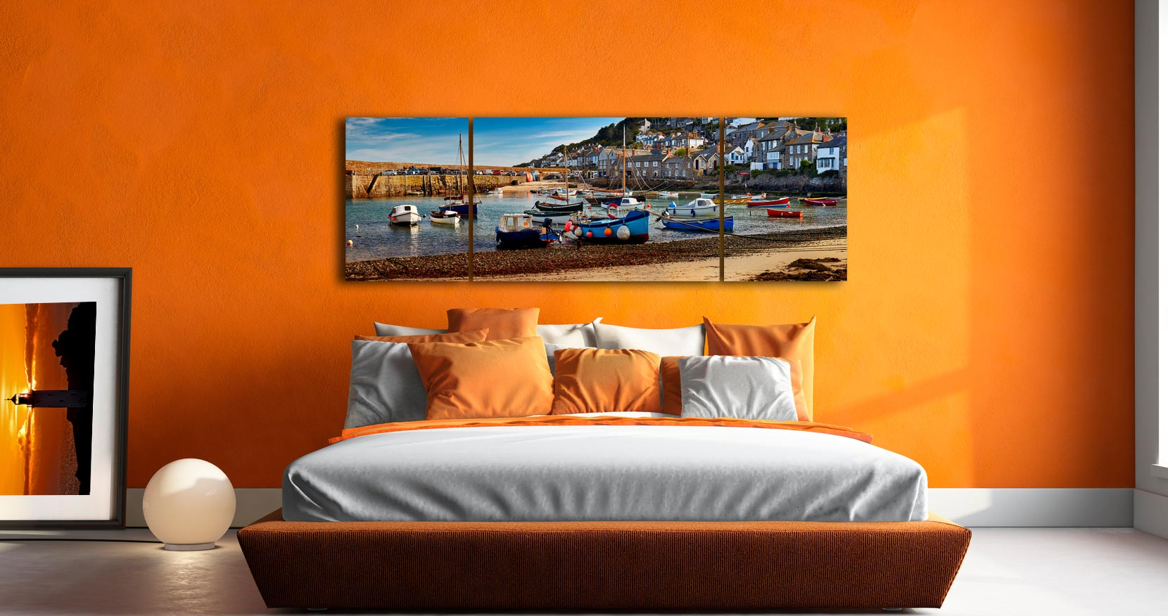Mousehole Harbour Morning - 3 Panel Wide Mid Canvas on Wall