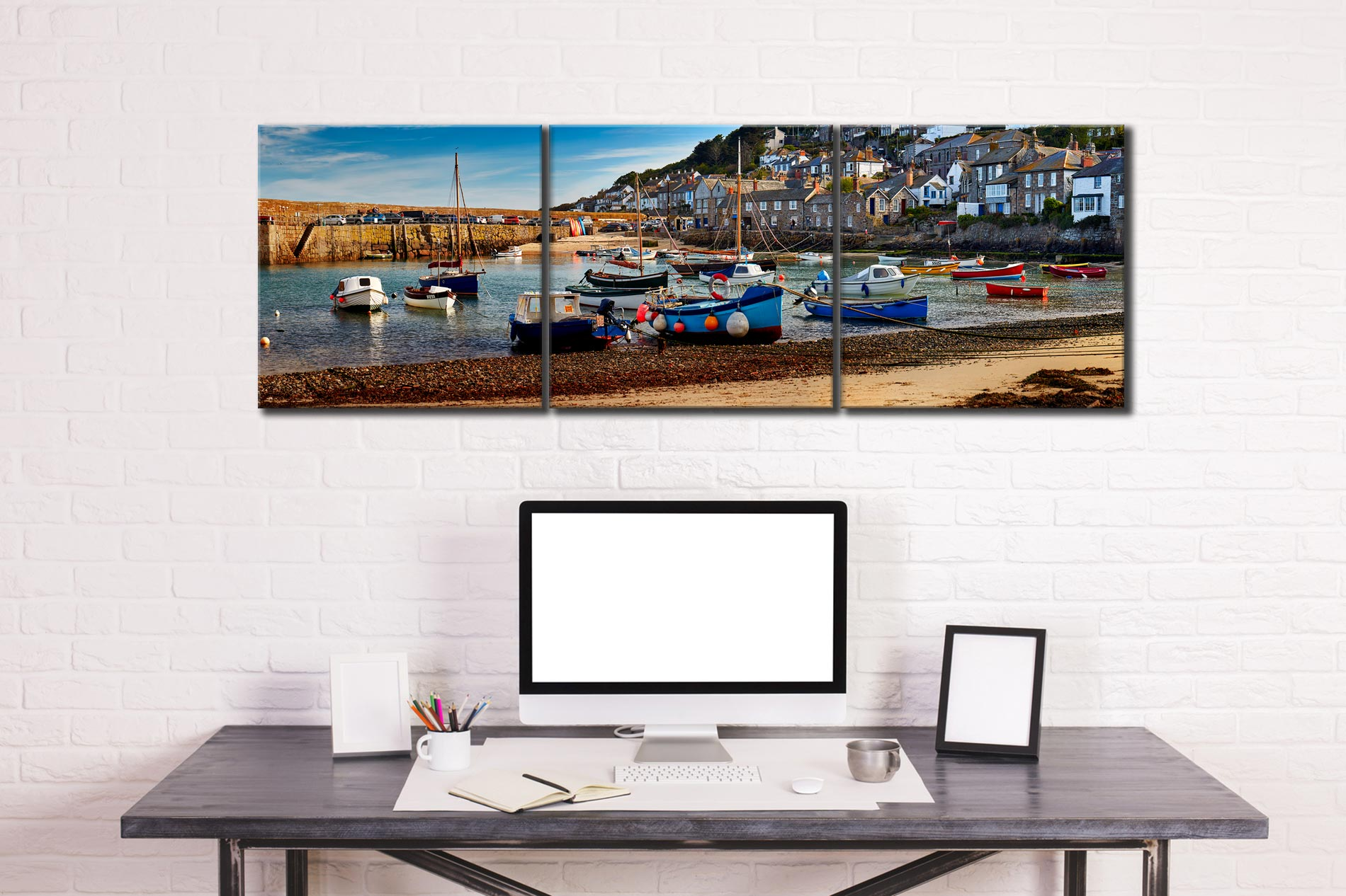 Mousehole Harbour Morning - 3 Panel Canvas on Wall