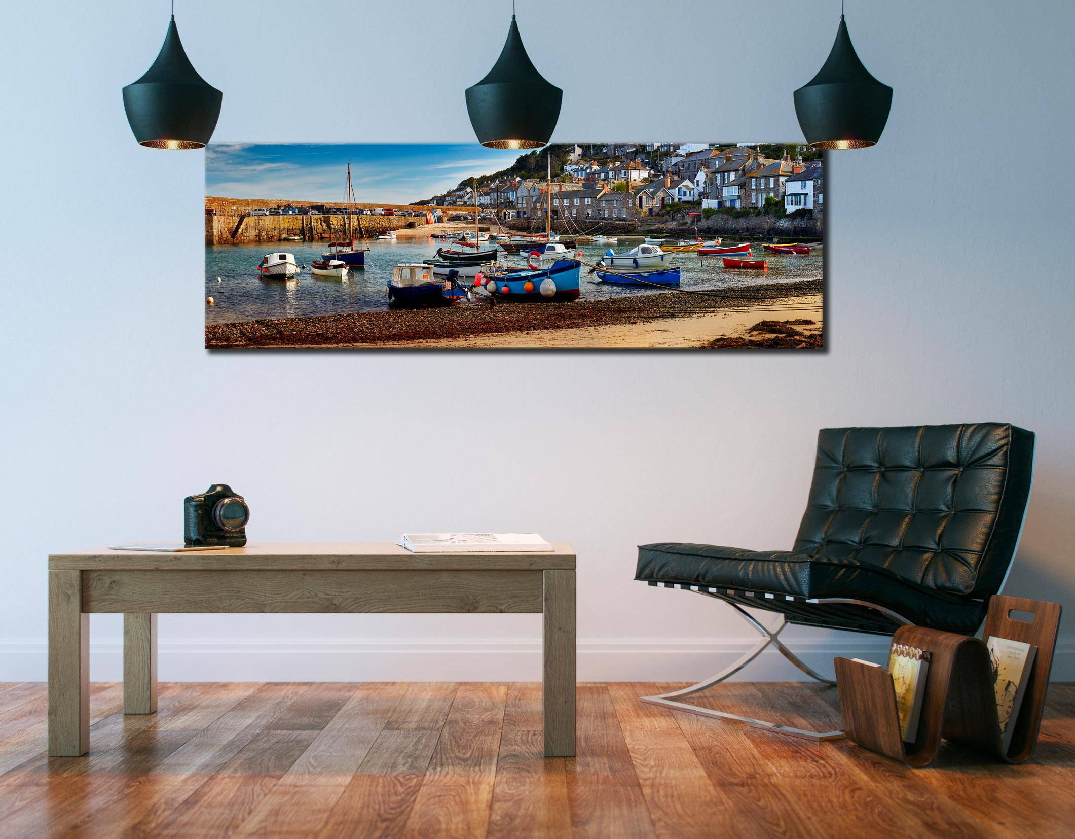 Mousehole Harbour Morning Canvas on wall