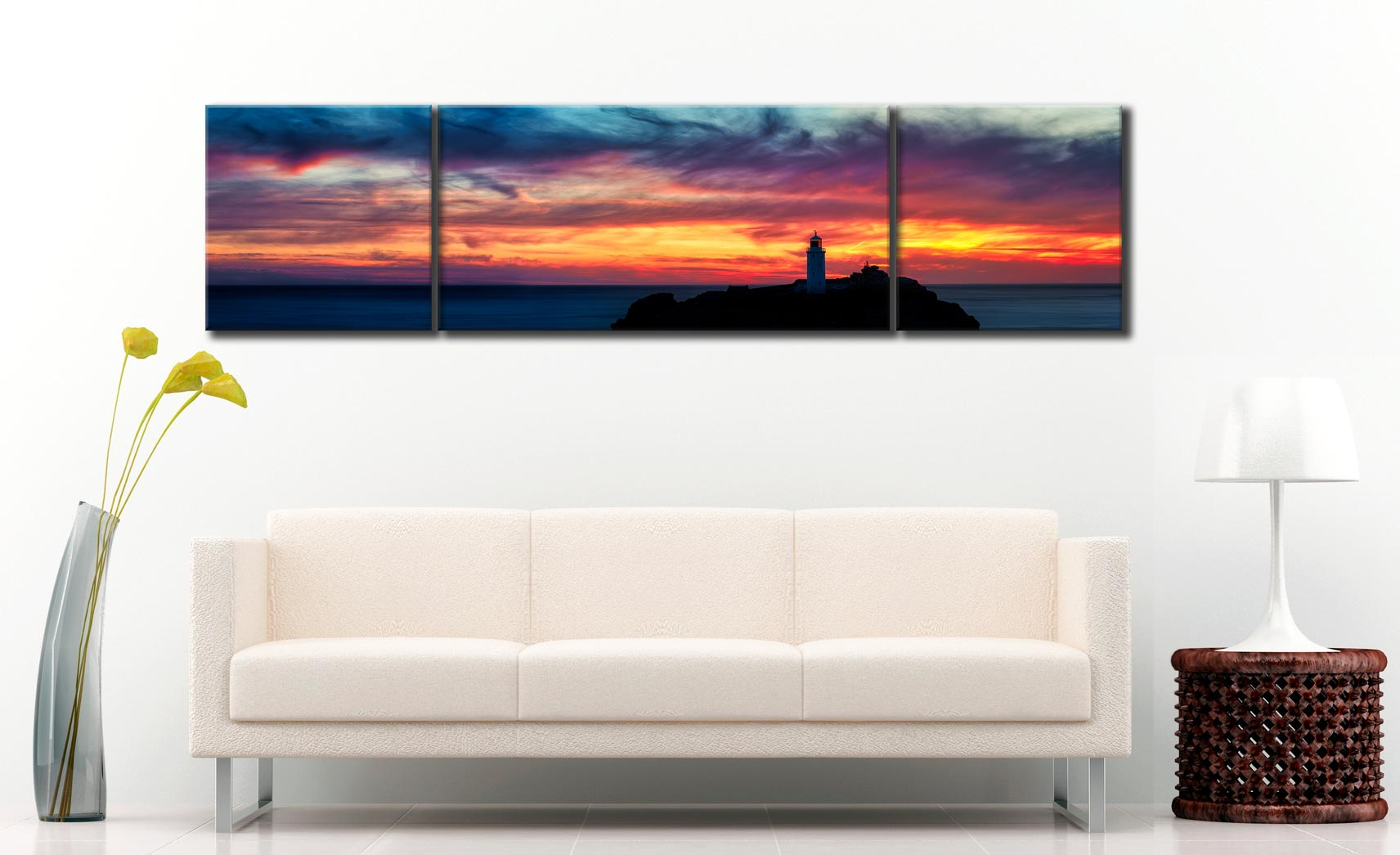 Dusk Skies Over Godrevy Lighthouse - 3 Panel Wide Centre Canvas on Wall