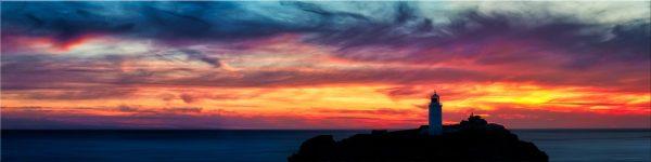 Dusk Skies Over Godrevy Lighthouse - Canvas Print