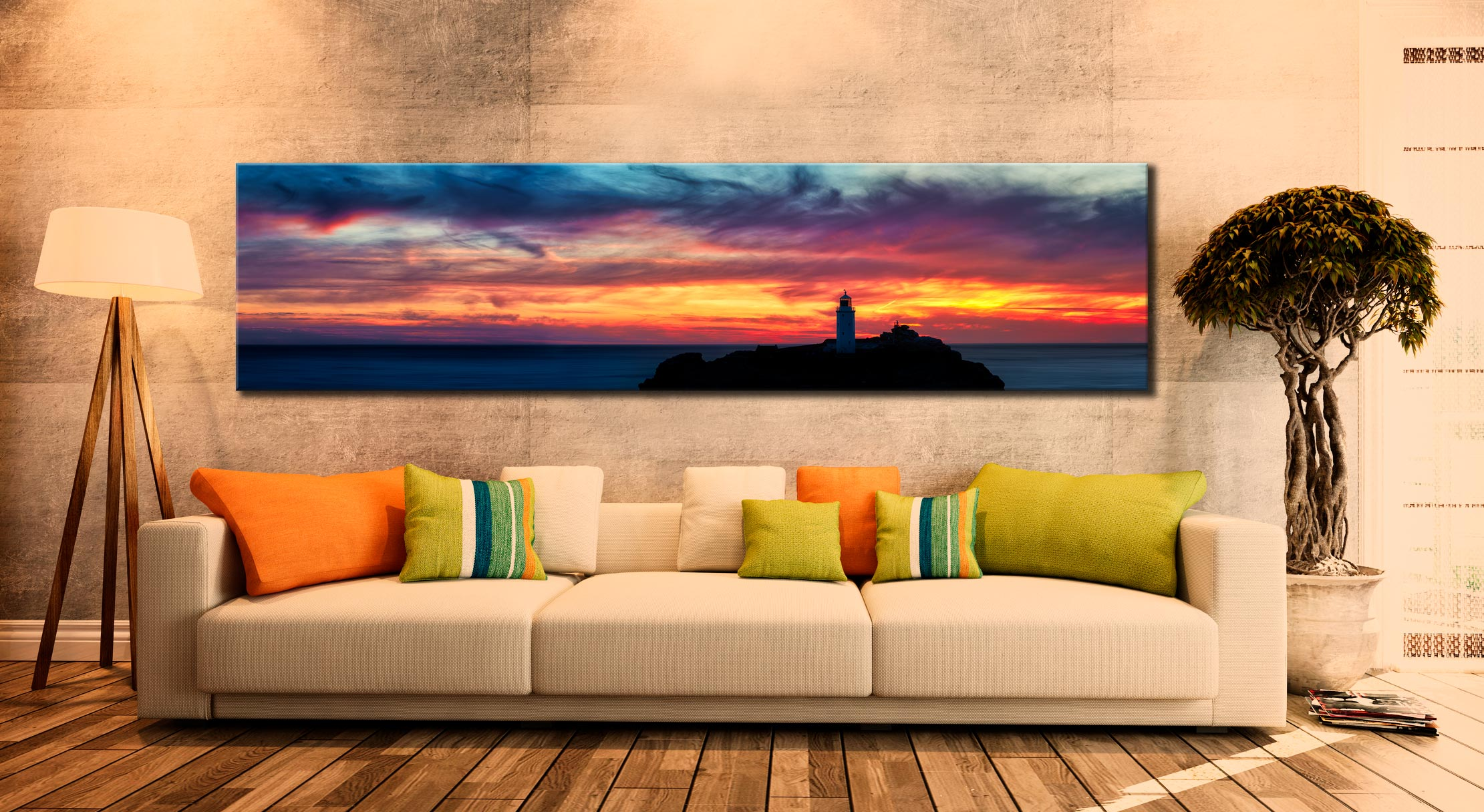Dusk Skies Over Godrevy Lighthouse - Cornwall Canvas on Wall