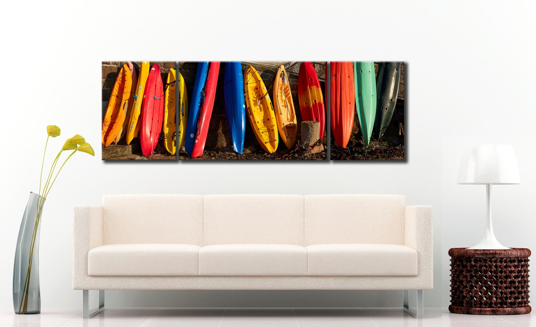 Colourful Kayaks at Mousehole - 3 Panel Wide Mid Canvas on Wall