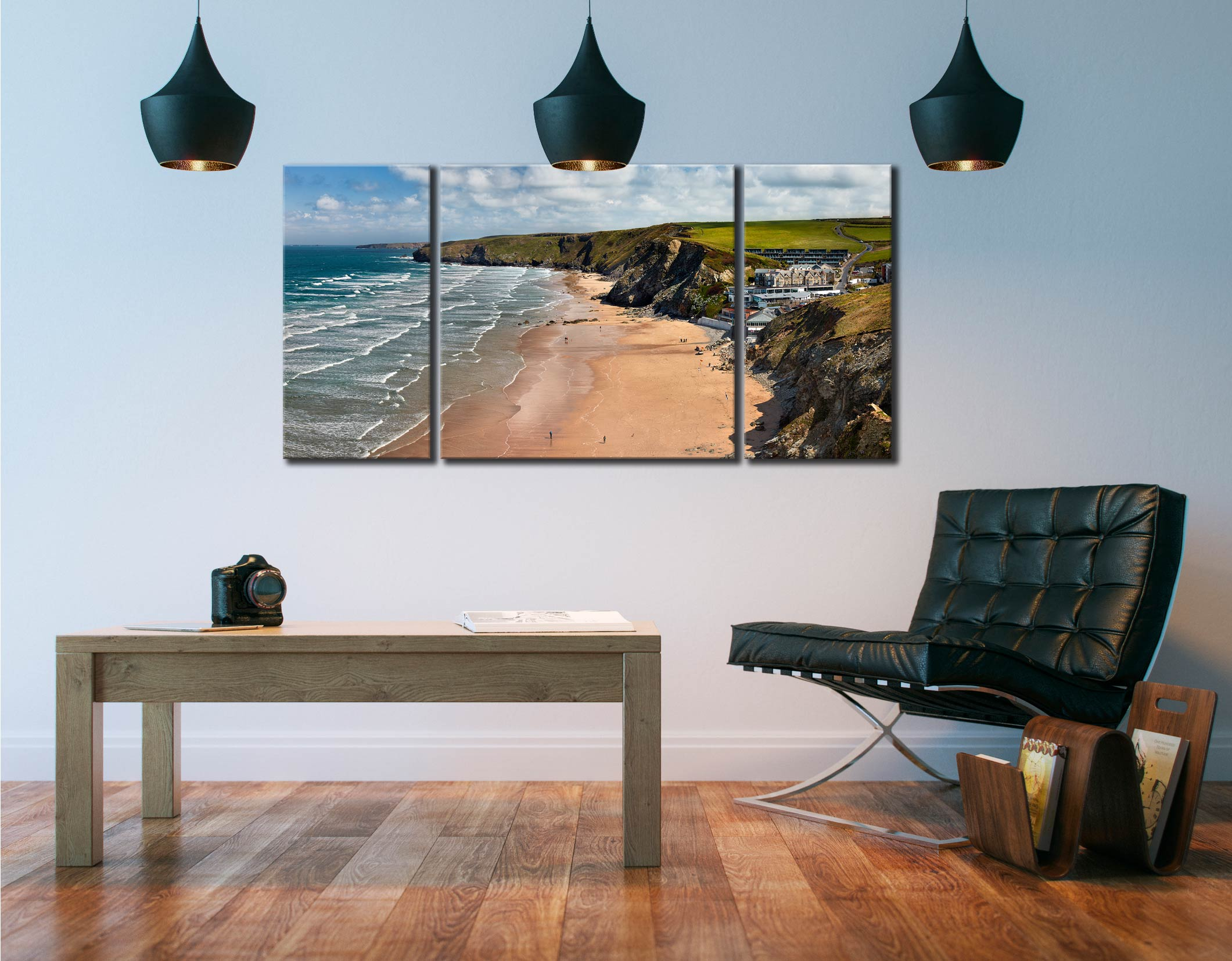Watergate Bay Beach  - 3 Panel Wide Centre Canvas on Wall