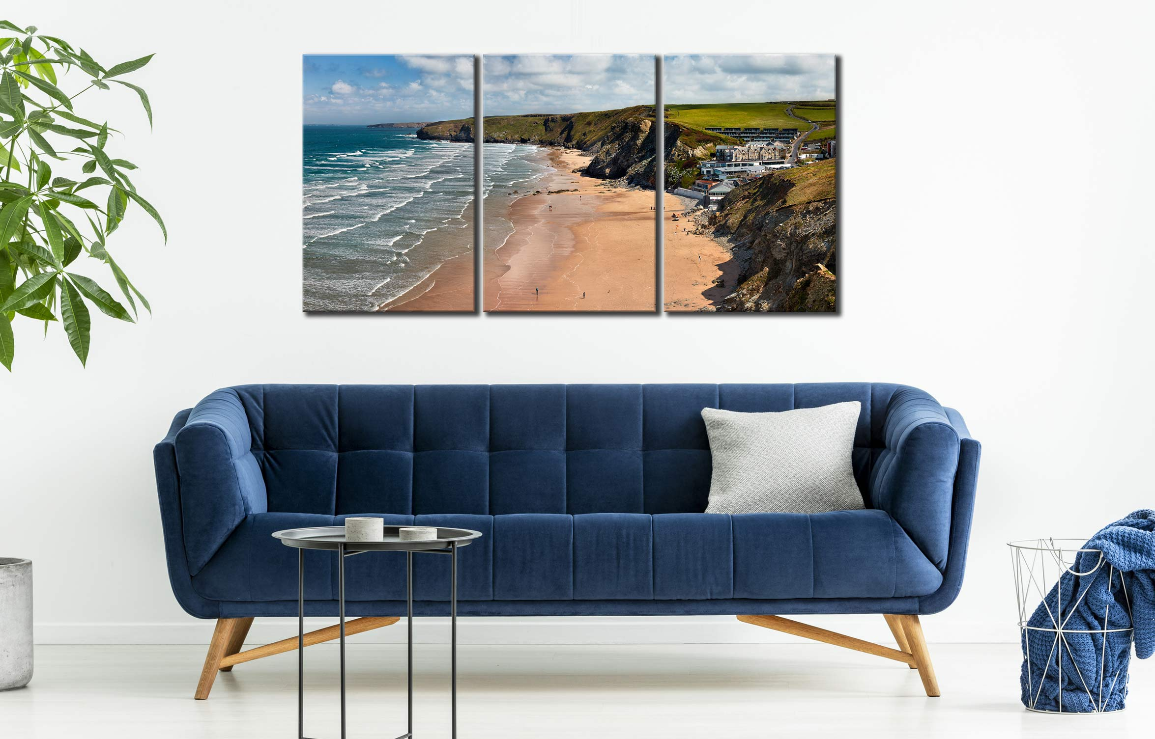 Watergate Bay Beach  - 3 Panel Canvas on Wall