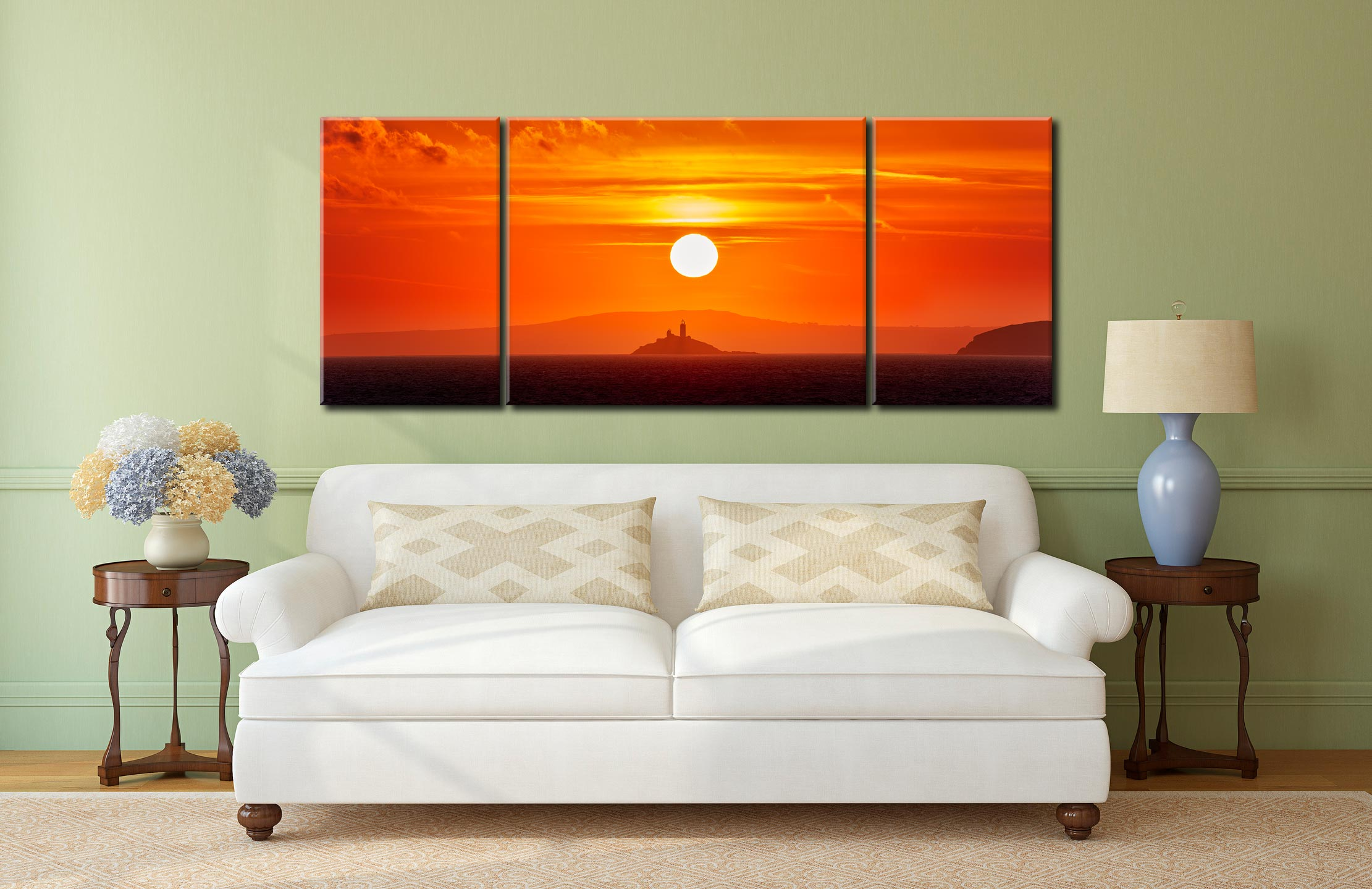 Godrevy Lighthouse Sunrise - 3 Panel Wide Mid Canvas on Wall