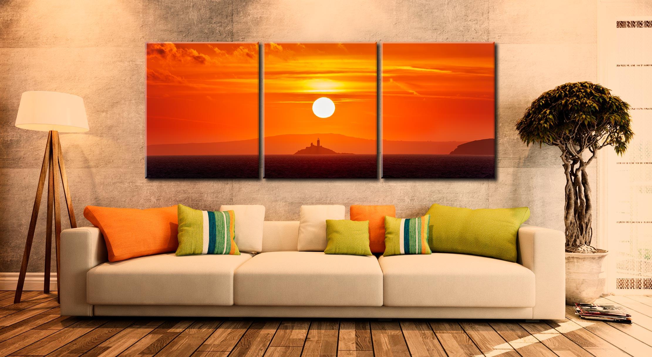 Godrevy Lighthouse Sunrise - 3 Panel Canvas on Wall
