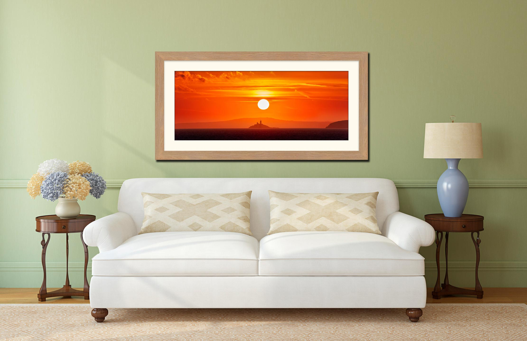 Godrevy Lighthouse Sunrise - Framed Print with Mount on Wall