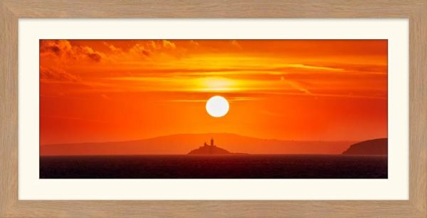 Godrevy Lighthouse Sunrise - Framed Print with Mount