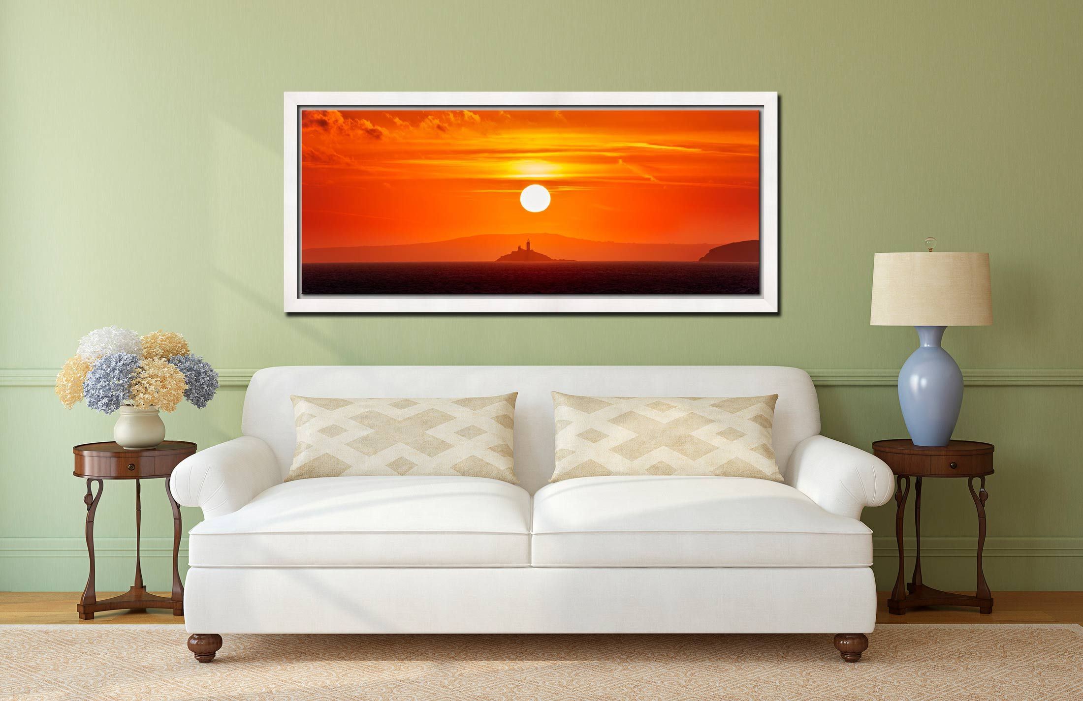 The golden sun rising over Godrevy Lighthouse in St Ives Bay - White Maple floater frame with acrylic glazing on Wall