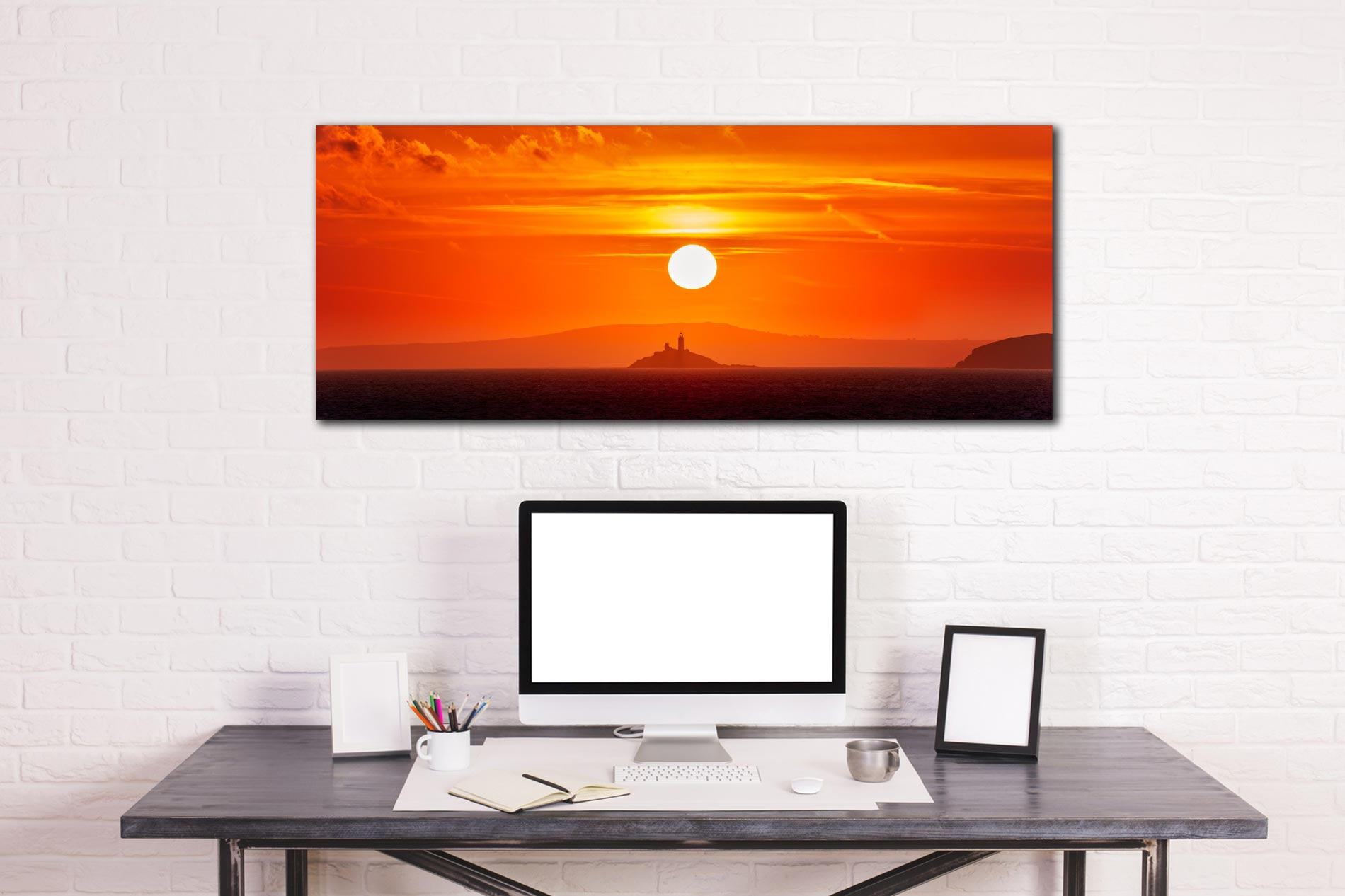 The golden sun rising over Godrevy Lighthouse in St Ives Bay - Print Aluminium Backing With Acrylic Glazing on Wall