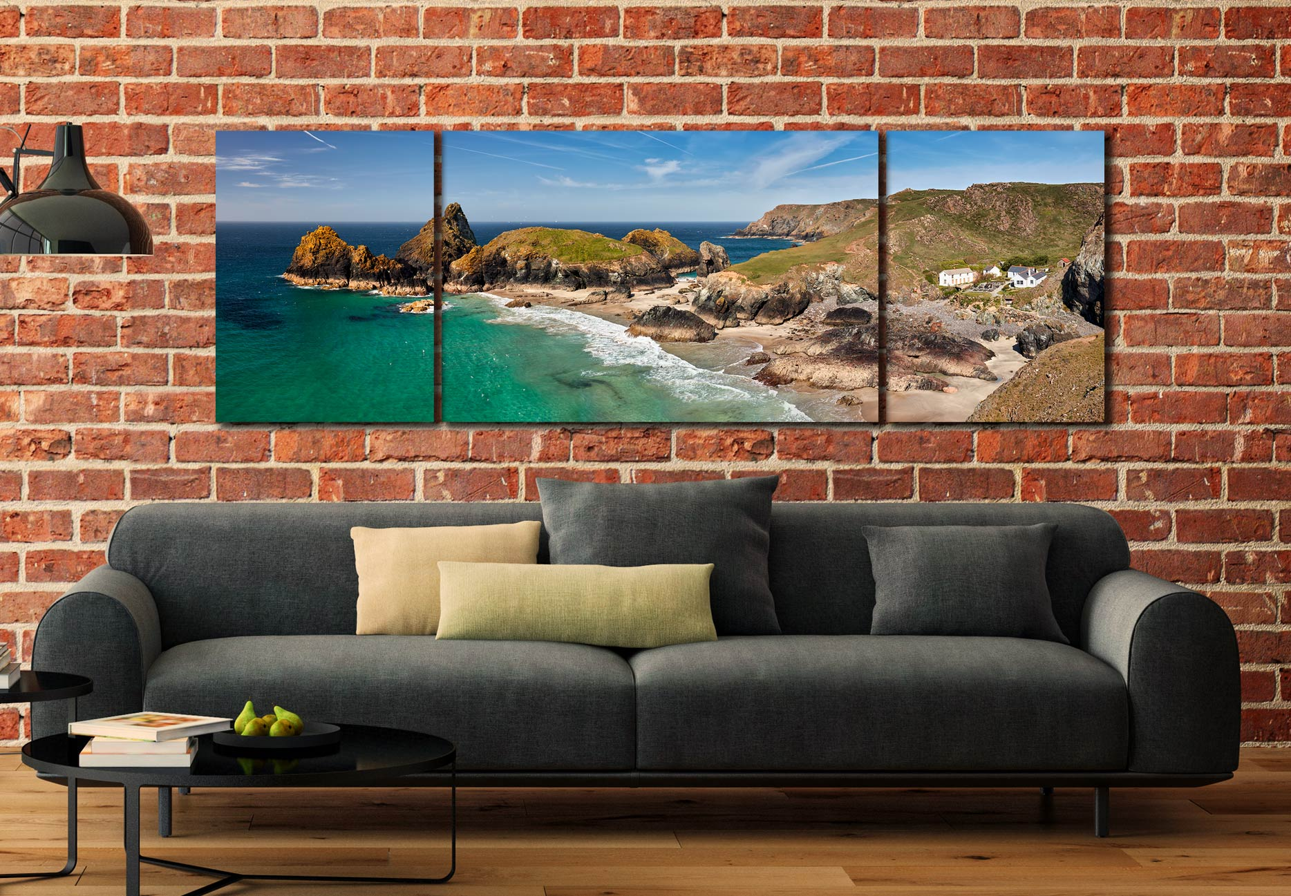 Kynance Cove and Cafe - 3 Panel Wide Mid Canvas on Wall