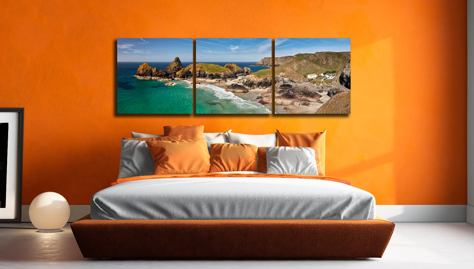 Kynance Cove and Cafe - 3 Panel Canvas on Wall