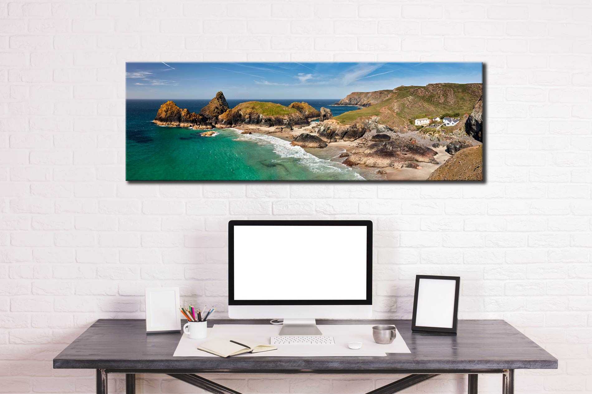 Kynance Cove and Cafe - Canvas Print on wall