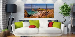 Kynance Cove Tropical Waters - 3 Panel Wide Centre Canvas on Wall