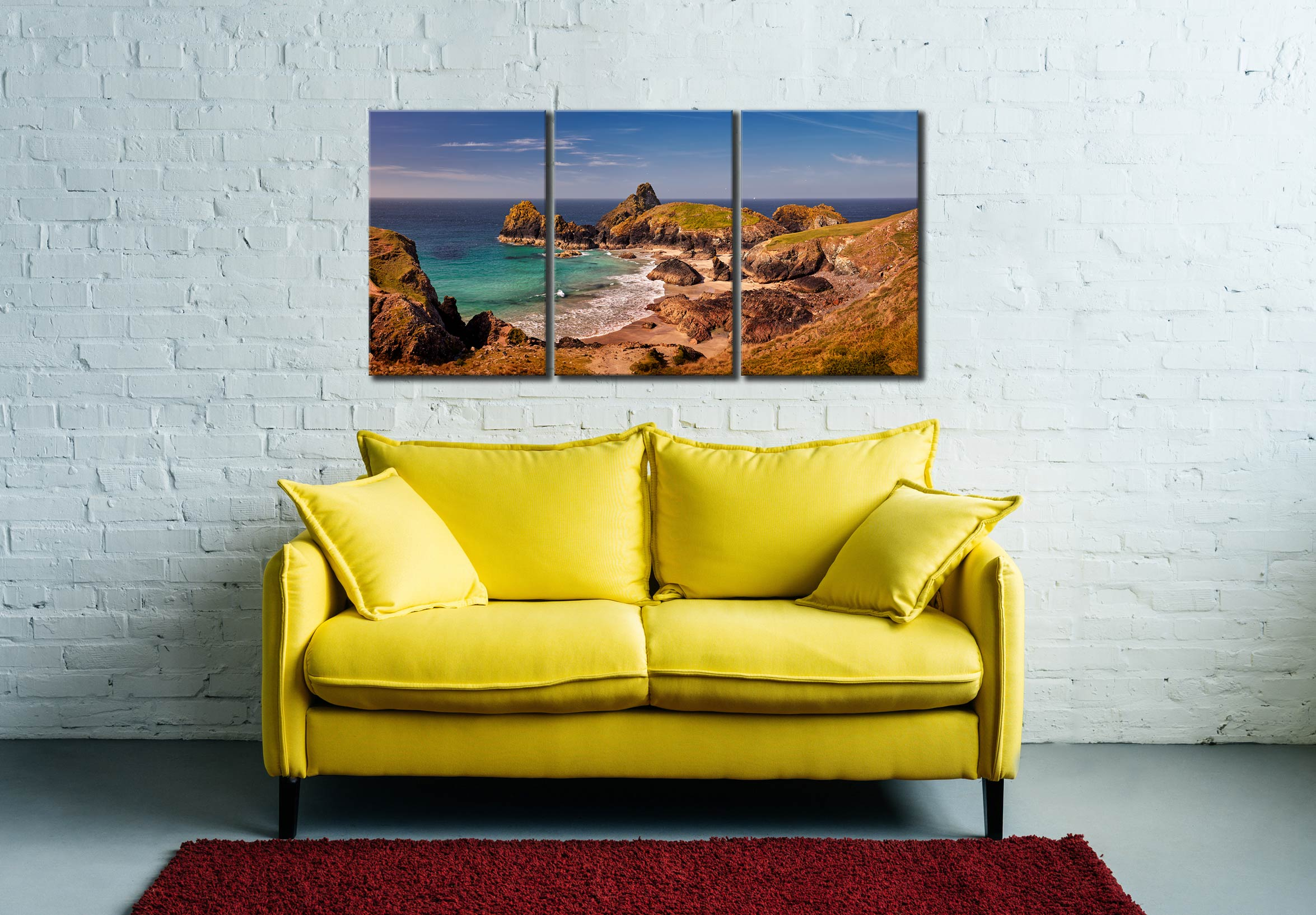 Kynance Cove Tropical Waters - 3 Panel Canvas on Wall