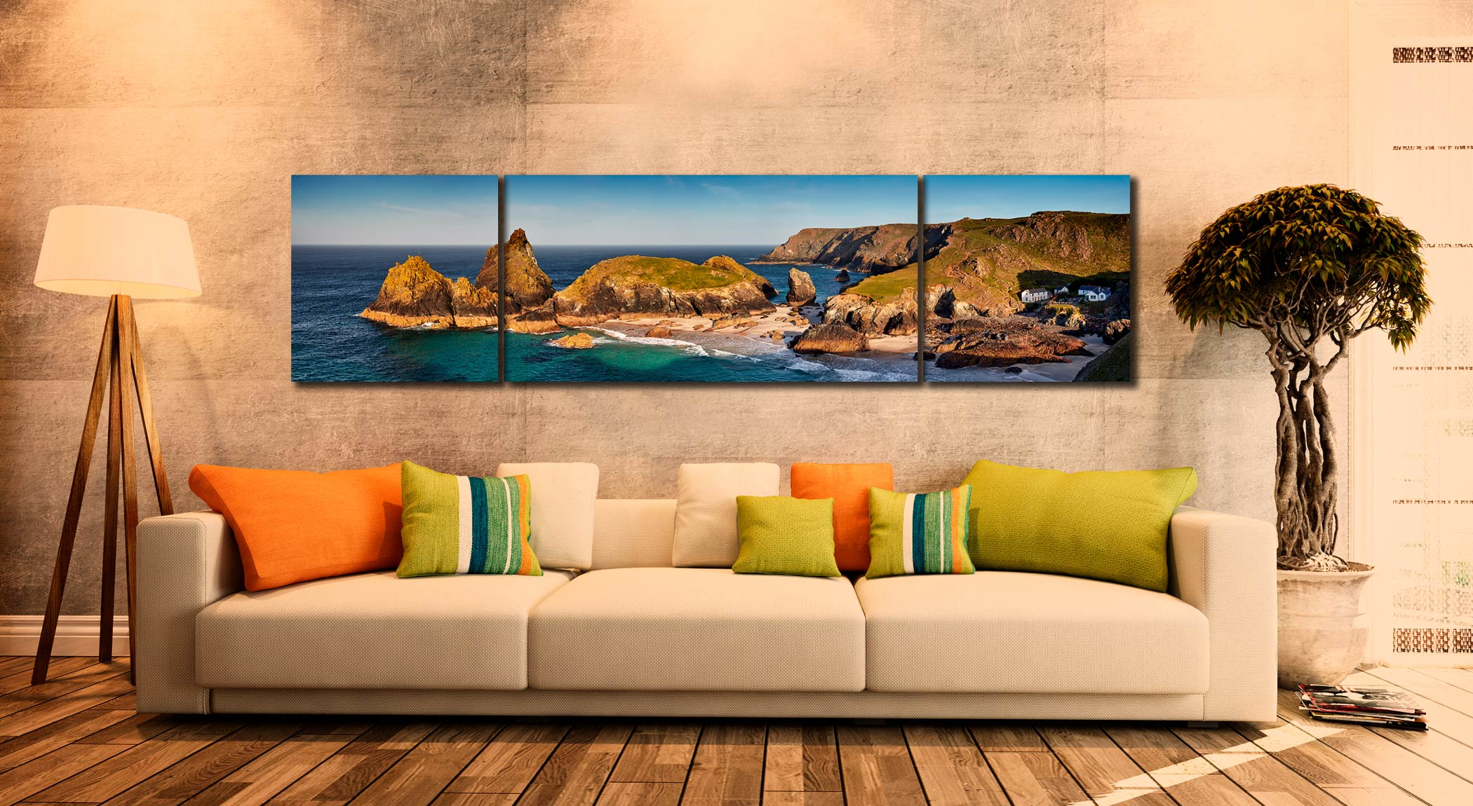 Kynance Cove Morning Sunlight - 3 Panel Wide Centre Canvas on Wall