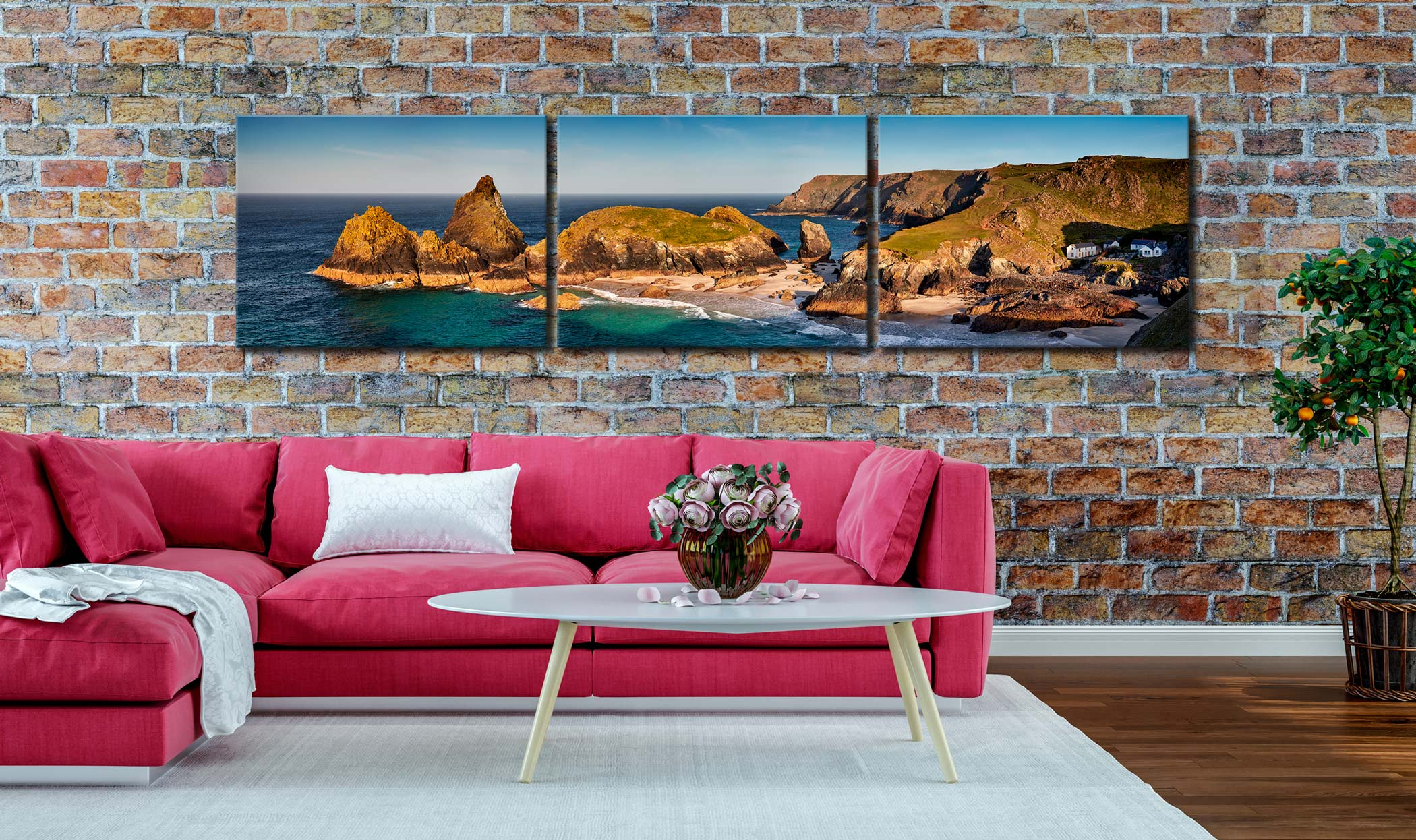 Kynance Cove Morning Sunlight - 3 Panel Canvas on Wall