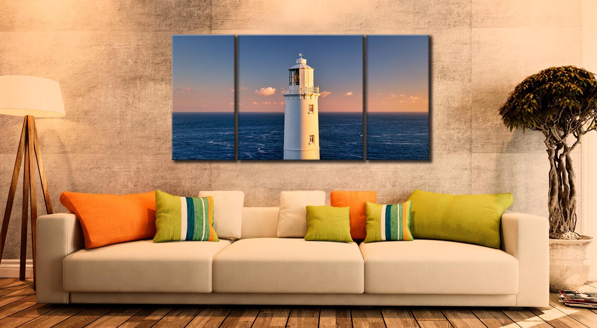 Trevose Head Lighthouse - 3 Panel Wide Centre Canvas on Wall