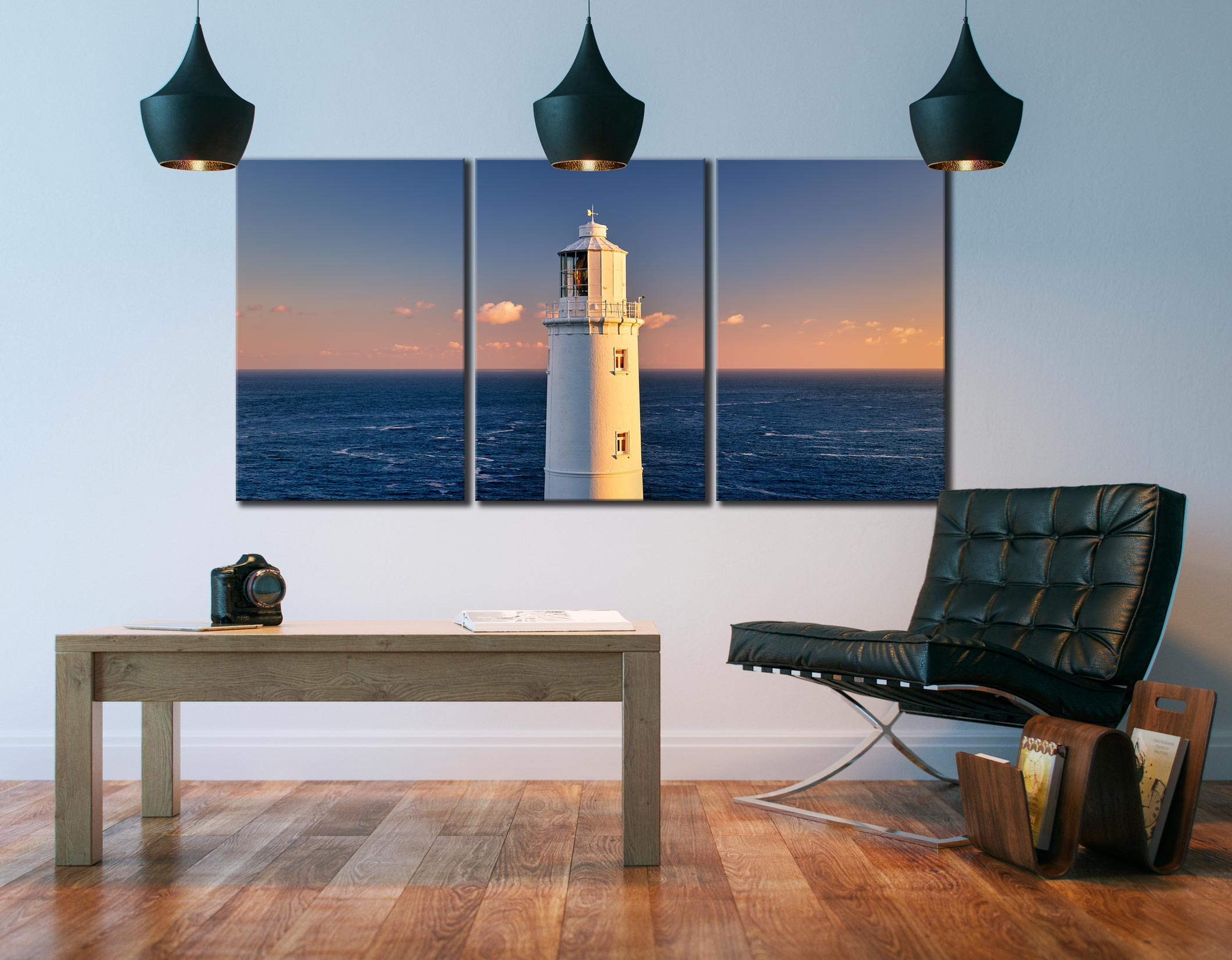 Trevose Head Lighthouse - 3 Panel Canvas on Wall