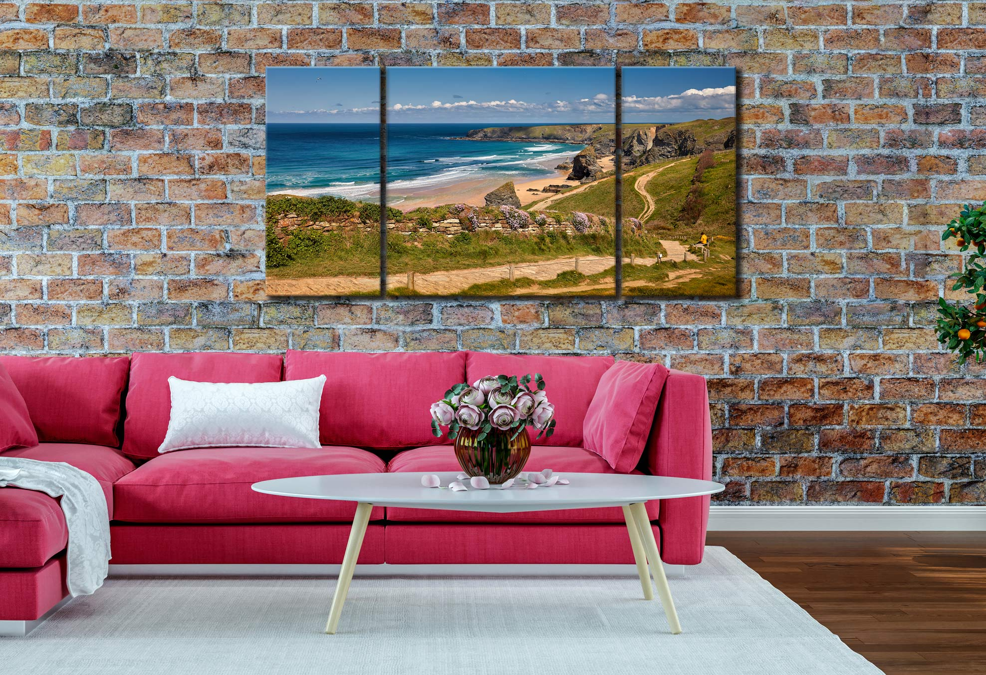 Path To Bedruthan Steps - 3 Panel Wide Centre Canvas on Wall