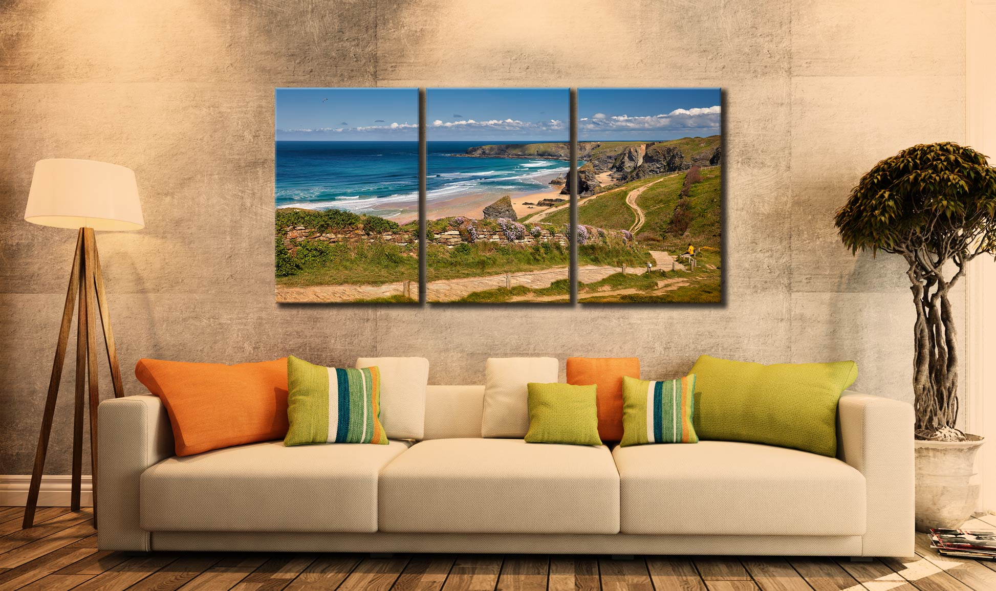 Path To Bedruthan Steps - 3 Panel Canvas on Wall