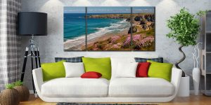 Spring Wildflowers Bedruthan Steps - 3 Panel Wide Centre Canvas on Wall