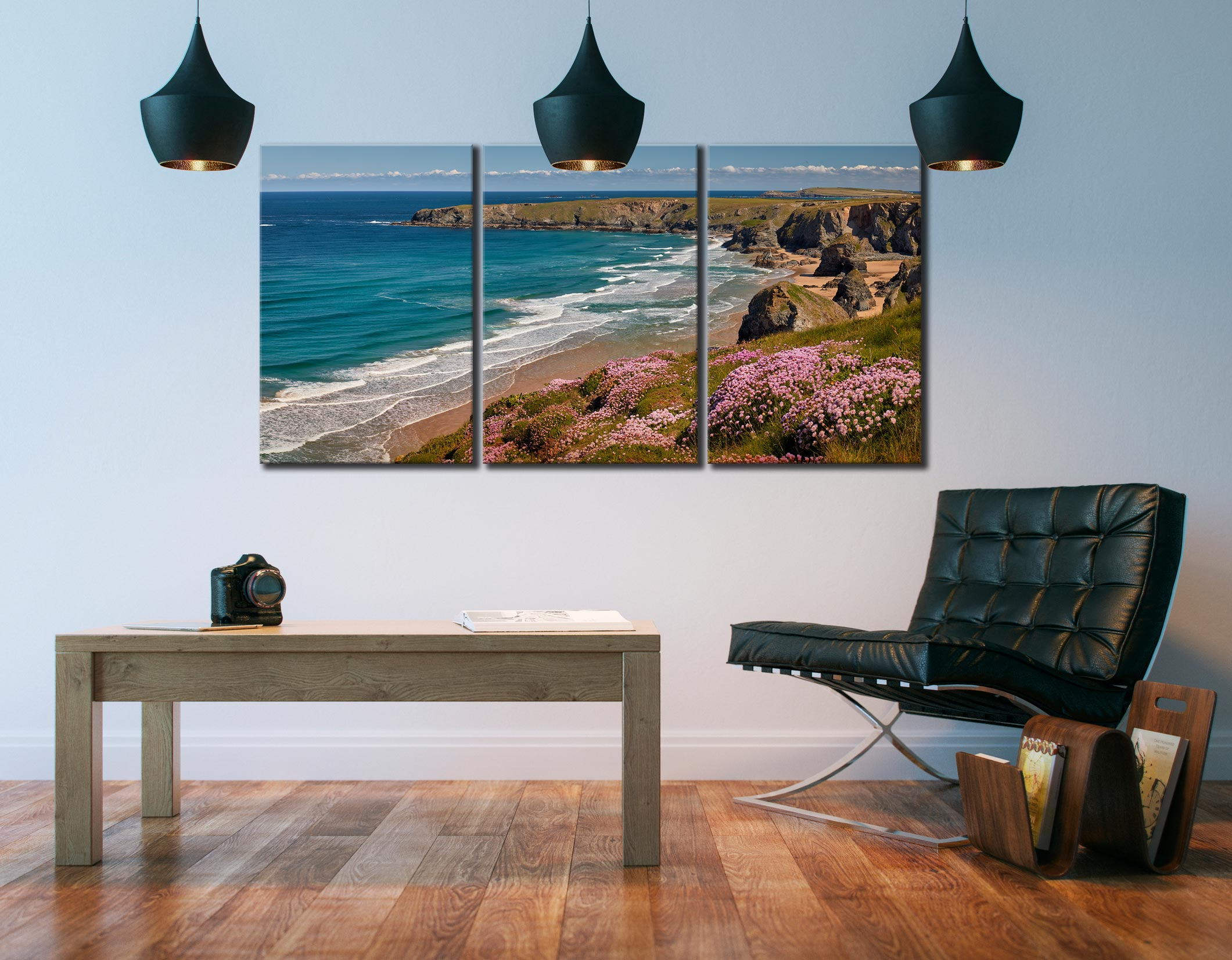 Spring Wildflowers Bedruthan Steps - 3 Panel Canvas on Wall