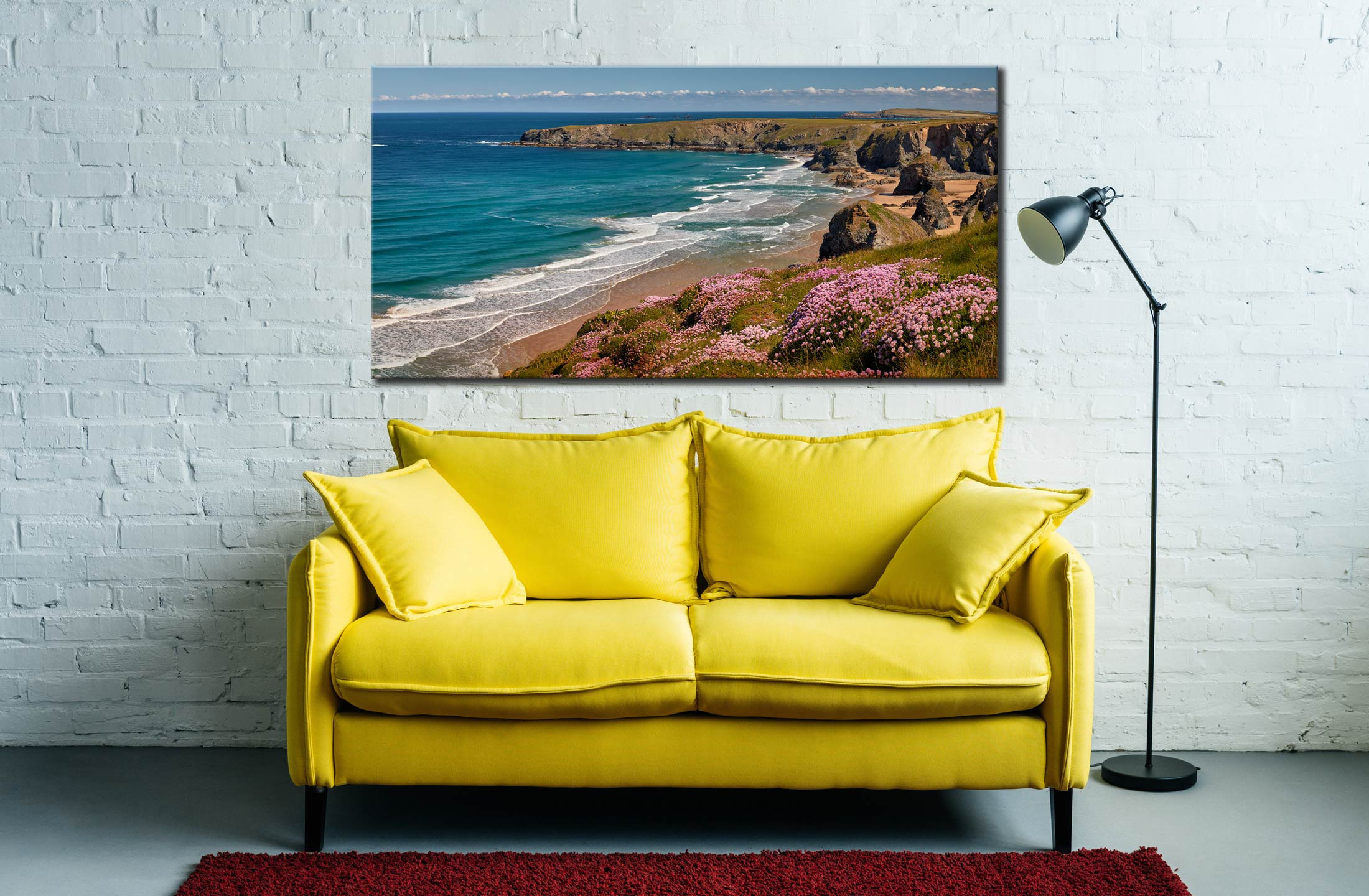 Spring Wildflowers Bedruthan Steps - Canvas Print on Wall