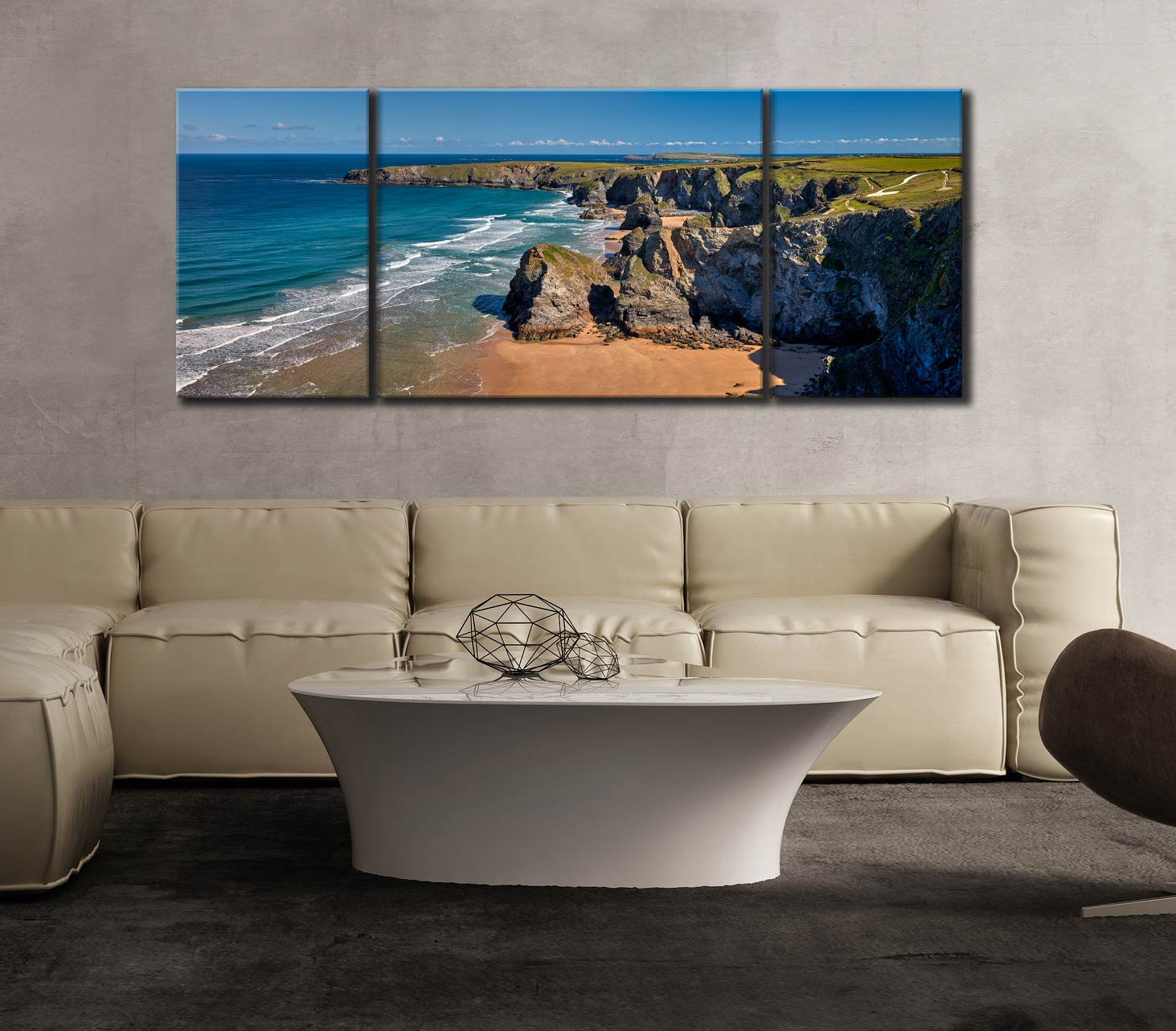 Cliffs and Stacks at Bedruthan - 3 Panel Wide Mid Canvas on Wall