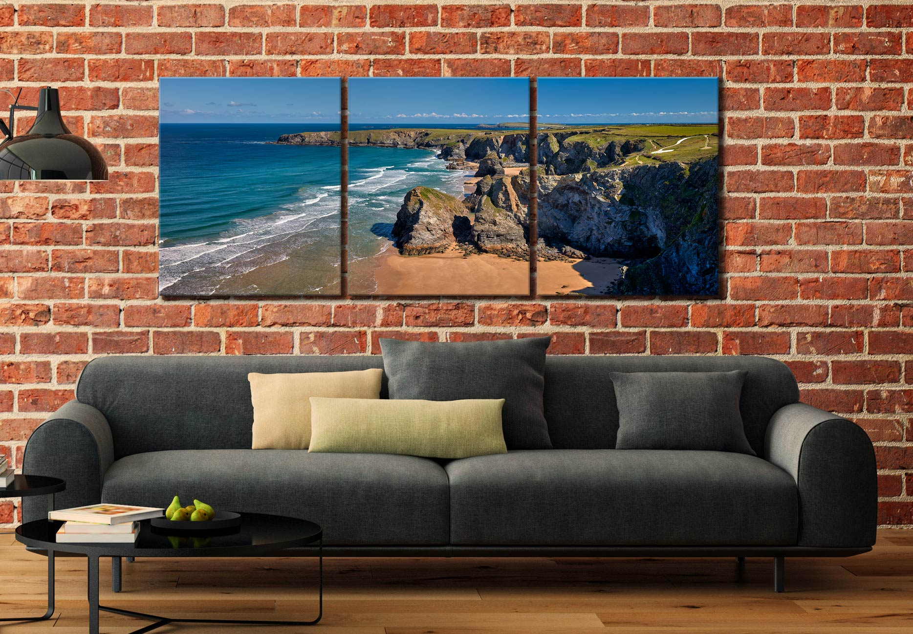 Cliffs and Stacks at Bedruthan - 3 Panel Canvas on Wall